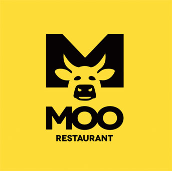 MOO Restaurant - Negative Space Logo Design