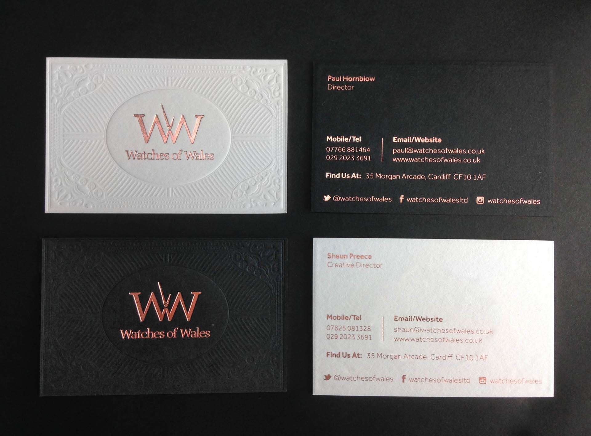 Luxury business card design watches of wales blind debossed business cards colourmoves